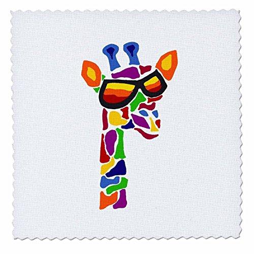 3drose alle Smiles Kunst Abstrakt-Funny Cool in Bunte Giraffe Sonnenbrille Original Abstrakte Kunst-Quilt Squares