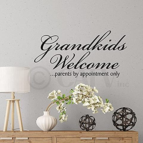 Grandkids Welcome...parents by appointment only 12x24 Vinyl Lettering Vinyl Wall Quote Decor Wall Words Sticker Decal Art