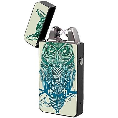 Briquet Arc Électrique -The Flame X- USB Rechargeable Briquet Double Arc, Anti-vent, Sans Flamme, Allumer Tout (Owl)