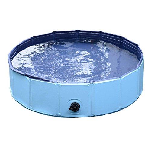 Mettime Hunde Badewanne Wasserbecken für Haustier, Hundepool Große Hunde Badewanne Haustier Klappbar Pool Bade für Haustier Schwimmen Pool,Blau,80 * 20cm