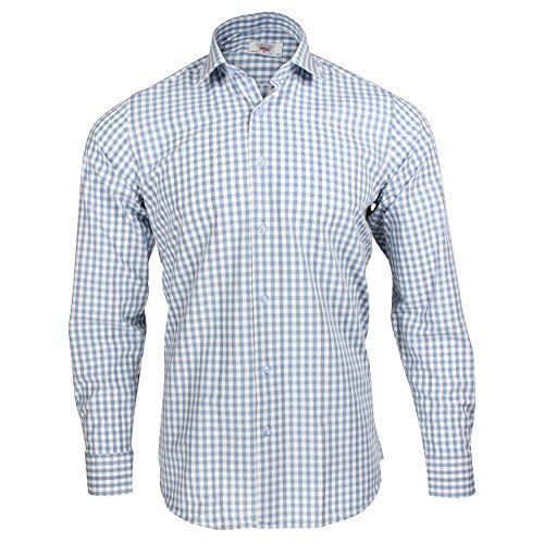 Captain Slim Fit Herren Hemden (in 24 Verschiedenen Farben) Langarm-Hemd 100% Baumwolle (L, Hellblau (Kariert))