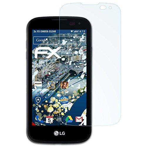 atFolix Schutzfolie kompatibel mit LG K3 Panzerfolie, ultraklare & stoßdämpfende FX Folie (3X)