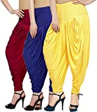 Fashion And Freedom Women's Pack of 3 Red, Blue And Yellow Viscose Dhoti