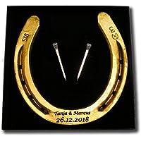 Hufeisen mit Wunschgravur aus schwerem Eisen, original Pferdehufeisen graviert gold lackiert