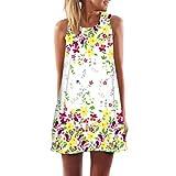 MRULIC Neue Beliebt Abiballkleider A Linie Kleid Festliche Kleidung Mädchen Coole 3D Blumen Drucken Lange Tops(G-Weiß,EU-42-44/CN-XL)