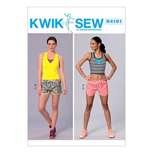 Kwik Sew Mustern k4181osz Misses-Tops und Shorts Schnittmuster, Tissue, Mehrfarbig, XS-X-Large -