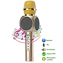 Micrófono Inalámbrico Portátil Bluetooth 3.0 2 Altavoces Incorporados para Karaoke Batería de 2600mAh 3.5mm AUX Compatible con PC/ iPad/ iPhone/ Smartphone, Color Dorado