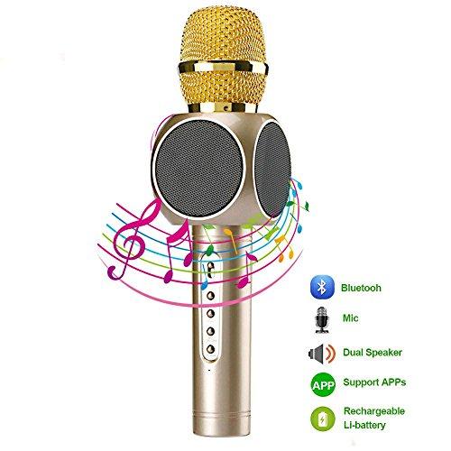 Micrófono Inalámbrico Portátil Bluetooth 3.0 2 Altavoces Incorporados para Karaoke Batería de 2600mAh 3.5mm AUX Compatible con PC/ iPad/ iPhone/ Smartphone, Color Dorado