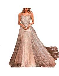 552c76fe00 Vestidos de Noche Señoras largas Verano de Esencial Lentejuelas Vestidos de  Princesa sin Mangas Fuera del