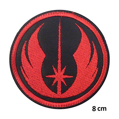 Galactic Bürgerkrieg Star Wars Rebel Alliance schwarz rot Squadron Jedi Orden X-Wing Starfighter Squadron Patch   Stickerei Hohe Qualität Eisen auf Sew auf Patch Abzeichen für Kleidung Jacken T-Shirts Mäntel Taschen Hüte Geldbeutel (Leder Rebel Flag)