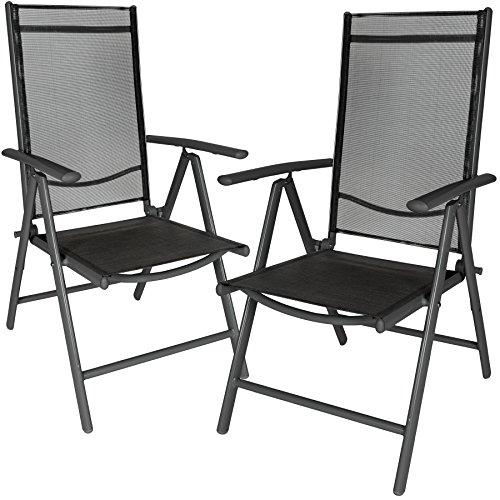 TecTake Lot de aluminium chaises de jardin pliante avec accoudoir - diverses couleurs et quantités au choix - (Anthracite | 4 chaises | no. 401634)
