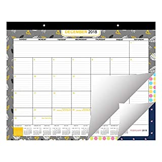 Desk Calendar 2018/2019 by Belle Vous   Large Wall and Desk Monthly Agenda Planner Pad from December 2018 - December 2019 - Printed Monthly Academic Desk Pad for School and Office Supplies