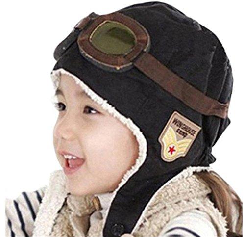 Amorar Super Cool Pilot Aviator Fleece warme Mütze mit Ohrenschützer Brille für Baby Kinder Kinder (Fleece-pilot Jungen)
