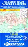 Dolomiti di Zoldo, Cadorine e Agordine: Wanderkarte Tabacco 025. 1:25000 (Cartes Topograh)