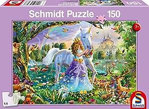 Schmidt Spiele Puzzle 56307Princesa con Unicornio y candado 150Piezas Niño Rompecabezas, Multicolor