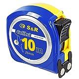 S&R Mètre Ruban 10 M x 25mm, Crochet Magnétique et Revêtement Nylon. Professionnel