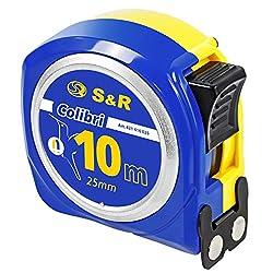 S&R Bandmaß 10m x 25mm mit MAGNET-Haken KOMPAKTE Colibri-Serie Nylon-beschichtetes Massband, schlagfestes Gehäuse, Feststeller, Metermaß mit Gürtelclip Rollband Rollmeter