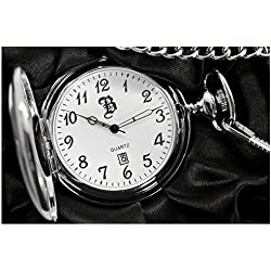 Personalised Silver Plated Date/Time Pocket Watch with Gift Box(Engraved Free)