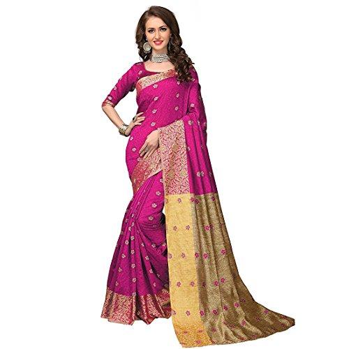 Craftsvilla Women's Lichi Silk saree Magenta color with Blouse piece