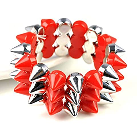 3-row spike funky bracelet,BR-1375 (color e red and silver)