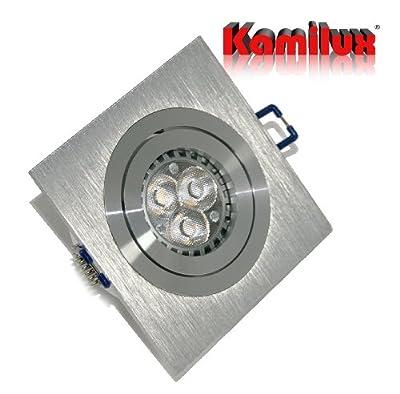 3 x Power LED Einbaustrahler/Spot Kanto 1er quadratisch inkl.GU10 Fassung 230V Power LED 5Watt Leuchtmittel in warmweiss von Kamilux - Lampenhans.de