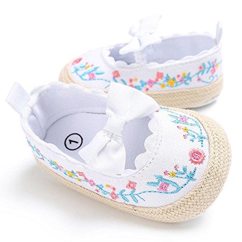 Chaussures de marche confortables pour bébés premières Chaussures en tissu antidérapant et doux avec de beaux motifs brodés pour bébé de 0 à 18 mois (Noir A, S) Bianco B