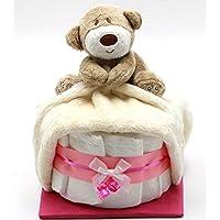 """Windeltorte""""Schnuffi-Bär"""" rosa mit Schnuffeltuch Bärchen für Mädchen - Geschenk zur Geburt + gratis Glückwunschkarte preisvergleich bei kleinkindspielzeugpreise.eu"""