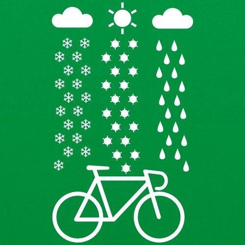 Spreadshirt Fahrrad Schnee Regen Sonne Rennrad Stoffbeutel Kelly Green