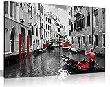 Venice Gondolas rot-schwarz-weiß-Leinwand Kunstdruck Bild, schwarz/rot/weiß, A2 61x41 cm (24x16in)