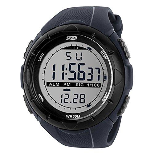Bluelans® Waterproof Fashion Men LCD Digital Stopwatch Chronograph Date Alarm Casual Sports Running Wrist Watch (Grey)