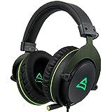 SUPSOO G817 Surround Stereo Sound Gaming LED Beleuchtung Over-Ear Kopfhörer Wired Headset für PC Gamers mit Mic Noise Cancelling & Lautstärkeregelung (Schwarz & Grün)