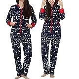 Moonuy Damen Herbst/Winter Overall, Frauen Mädchen Langarm Hoodies Heißer Verkauf Damen 3D Weihnachten Elch Gedruckt Jumpsuit Pyjamas Nachtwäsche Stilvolle Kleidung (Marine, 2XL)