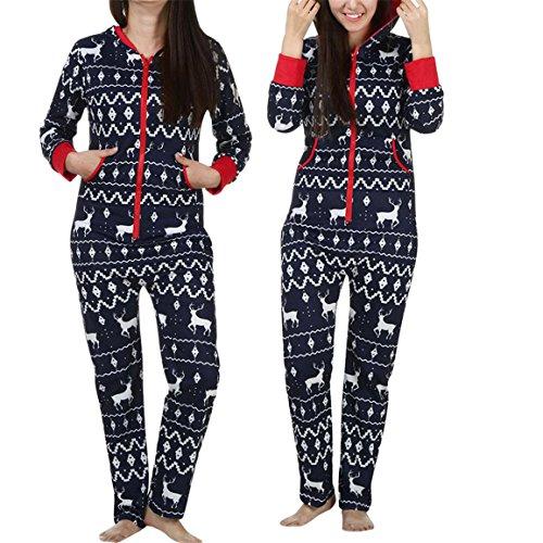 Winter Overall, Frauen Mädchen Langarm Hoodies Heißer Verkauf Damen 3D Weihnachten Elch Gedruckt Jumpsuit Pyjamas Nachtwäsche Stilvolle Kleidung (Marine, 2XL) (Weihnachts-kleidung Für Frauen)