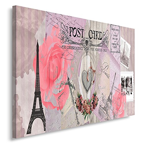 Feeby Frames, Tableau imprimé xxl, Tableau imprimé sur toile, Tableau deco, Canvas 60x80 cm, VINTAGE, PARIS, CARTE POSTALE, TIMBRES, TOUR EIFFEL, ROSE, FLEURS, LAVANDE, GRIS