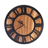 iVansa Holz Wanduhr Ø 30cm, Dekorative Wanduhr Lautlos Ruhige Wanduhr, Chic Design mit Leisem Quarz-Uhrwerk, für Küche Büro Wohn- und Schlafzimmer