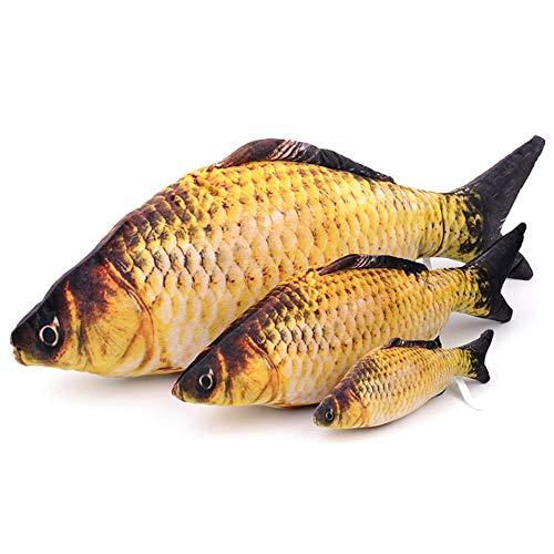 WEIWEITOE-DE 3D Fischform Katzenspielzeug Simulation Plüschfisch Haustier Katzenminze Fisch Startseite Kissen, gelb, 20cm