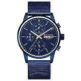 Mini Will Armbanduhr Herren Uhren Chronograph Blau Datum Edelstahl Milanaise-Armband Mesh-Metallband Blau Zifferblat Quarz Herrenuhr Ultra-flach dünn