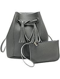 Rrimin New 2 Pcs Fashion Women PU Leather Tassel Barrel Bag Shoulder Crossbody Bag Clutch Bag