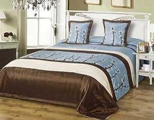 220x240 blau braun creme schoko Tagesdecke Bettüberwurf Kissenbezüge 40x40 Satin 1181181