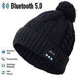 HANPURE Bluetooth Mütze, Bluetooth kopfhörern StrickMütze, Geschenke für Frauen, Pom Pom Mütze mit Bluetooth Lautsprechern, Musik Beanie Mütze mit drahtlosen Kopfhörern,Geschenke für Mädchen