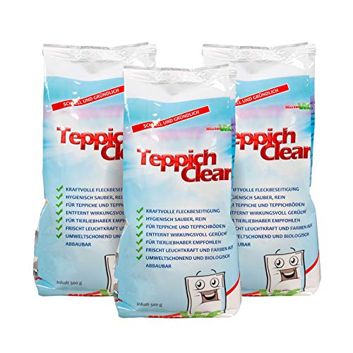 CARLAS TeppichClean 3X 500gr Reinigungspulver, kraftvoller und wirkungsvoller Teppichboden-Reiniger - Schaum Pulver