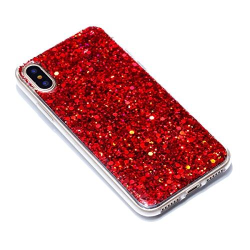 iPhone X Handycover, MOONMINI für iPhone X Bling Glitter Shiny 2 in 1 Hybrid Hülle Soft TPU Silikon Stoßfest Slim Handy Tasche Anti-Kratzer Back SchutzHülle Shell Blau Rot