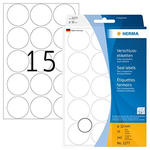 HERMA 2277 Verschlussetiketten transparent rund (Ø 32 mm, 16 Blatt, Folie, matt) selbstklebend, extrem stark haftende Haushaltsetiketten zur Handbeschriftung, 240 Haftetiketten, durchsichtig