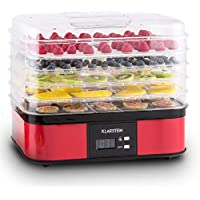 Klarstein Valle di Frutta • Deshidratadora • Desecadora • Secadora de Frutas • 5 Pisos • 250 W • Temperatura Regulable • Temporizador • Pantalla LCD • Panel de 2 Botones • Bandeja Fina • Plateado