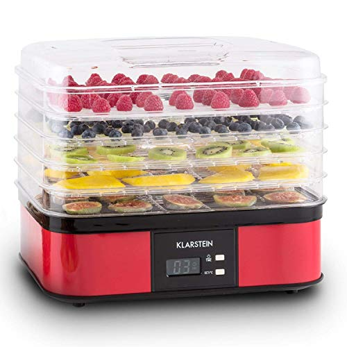 Klarstein Valle di Frutta Deshidratadora Desecadora Secadora de Frutas 5 Pisos 250 W Temperatura Regulable Temporizador Pantalla LCD Panel de 2 Botones Bandeja Fina Plateado