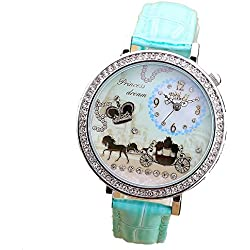 "ufengke® ""princess dream"" crown pearl necklace carriage rhinestone polymerclay watches girls green strap gift watch"