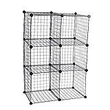Armario organizador modular de 6 cubos de 35x35cm metal negro de PrimeMatik