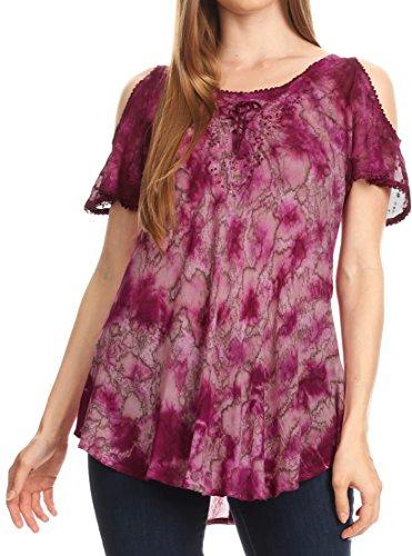 Sakkas 18722 - Aziza Damen Cold Shoulder Tie-Dye Bluse Top mit Korsett und Stickerei - Fuchsia - OS (Fuchsia Korsett)