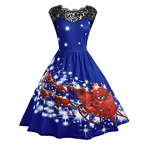 (Longzjhd Frauen Vintage Weihnachten Spitze Kleid Damen Ärmellos Rockabilly Kleid mit Weihnachtsmann Festlich Kleid für Damen Swing Kleid Partykleid Cocktailkleid)