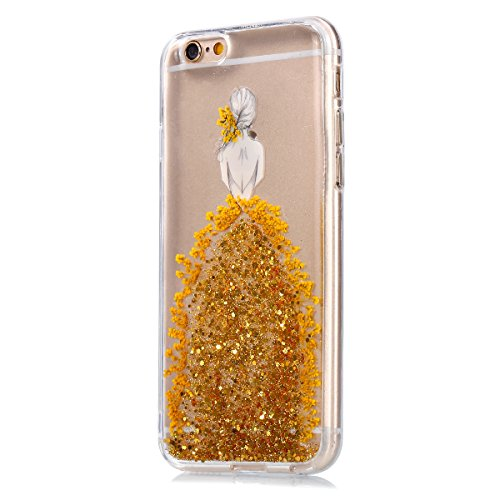 iPhone 6S Hülle,iPhone 6 Hülle,SainCat iPhone 6/6S Silikon Hülle Tasche Handyhülle Weiß Kirsche Blumen Muster Schutzhülle Transparent TPU Gel Case Bumper Weiche Crystal Kirstall Clear Silikonhülle Dur Echt Blumen-Gold
